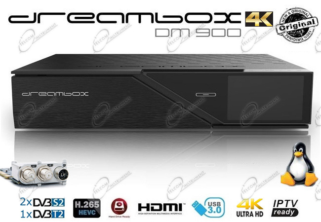 DREAMBOX DM900 4K È DECODER COMBO CON TRIPLE TUNER: DREAM BOX DM900 UHD SUPPORTA IPTV E RISOLUZIONE 2160P