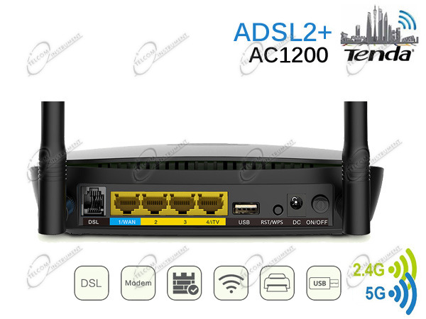 MODEM ADSL TENDA E ROUTER WI-FI AC1200 PER LA CONNESSIONE INTERNET WIFI VELOCE: ROUTER WIRELESS AC 1200MBPS