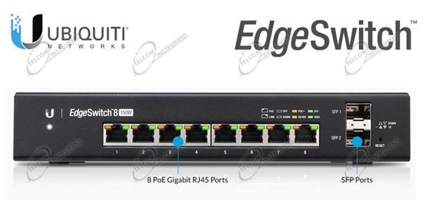 UBIQUITI EDGE SWITCH 8 PORTE LAN GIGABIT: EDGESWITCH ES-8-150W HA CONNESSIONI DI RETE CON ALIMENTAZIONE POE 802.3AF E DUE SFP