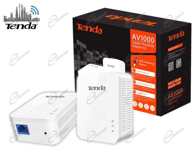 POWERLINE TENDA AV1000 COMPOSTO DA DUE HOMEPLUG POWER LINE GIGABIT PER RETE LAN VELOCITÀ FINO A1000 MBPS