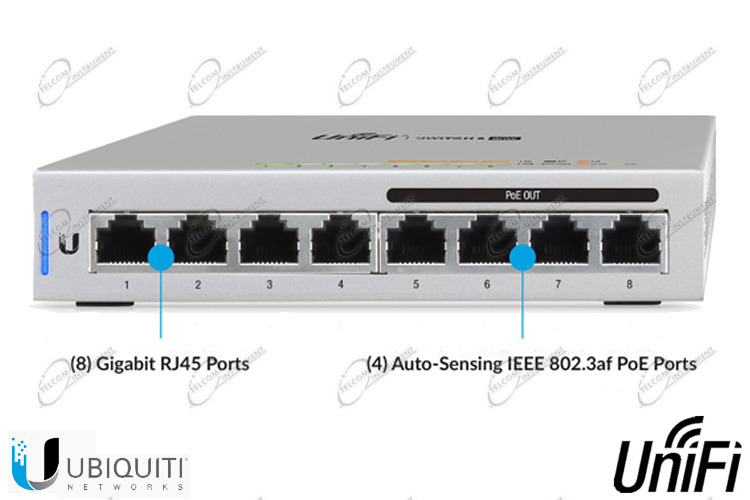 UNIFI SWITCH US-8-60W CON 8 PORTE LAN GIGABIT: UBIQUITI SWITCH UNIFI HA 4 PORTE DI RETE POE 802.3AF