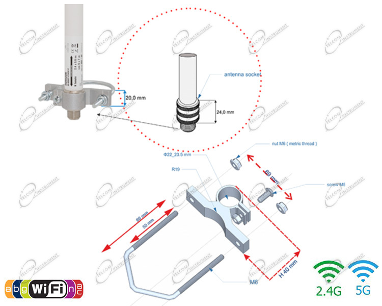 ANTENNA OMNIDIREZIONALE WIRELESS AC DUAL BAND PER UBIQUITI BULLET, PER CONNESSIONE INTERNET HOTSPOT WIFI A 360 GRADI