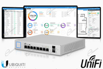 UNIFI SWITCH X8 CON PORTE LAN GIGABIT E ALIMENTAZIONE POE 150W: UNIFI SWITCH US-8-150W HA SOFTWARE UNIFI CONTROLLER E DUE PRESE SFP