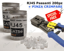 OFFERTA PINZA E CONNETTORI RJ45 PASS THROUGHT PER CAVO DI RETE ETHERNET CAT 5E, CONTATTO DORATO 3 PUNTI